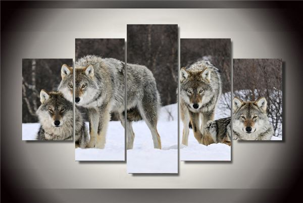 Framed Printed Wolf Pack Snow Animal Painting On Canvas Room ...
