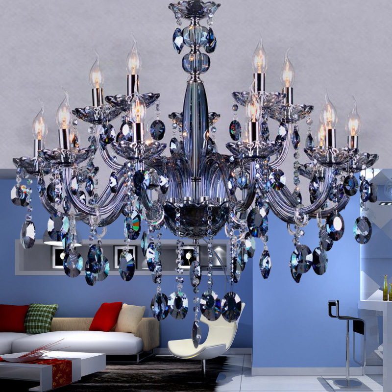 15 lights Romantic wedding room chandelier lighting modern crystal chandelier blue color living room bedroom luxury chandelier