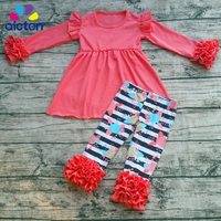 2017 High Quality Baby Girl Spring Boutique Outfits Girls solid top and  flower pants with Ruffle Valentines Day Clothes Sets