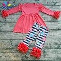 2017 de Alta Calidad Niña de Primavera Boutique Trajes Girls solid top y pantalones con Volantes de flores el Día de San Valentín Ropa Conjuntos