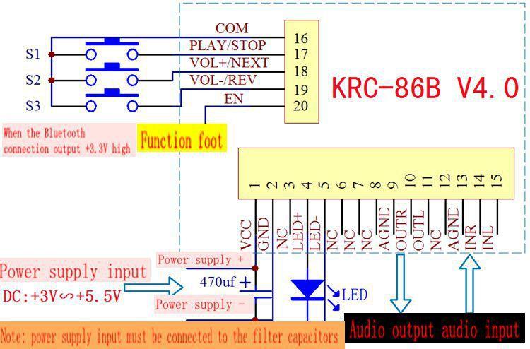 glyduino krc 86b bluetooth 4 0 stereo audio receiver module wireless  at Krc 86b Bluetooth Wiring Diagram