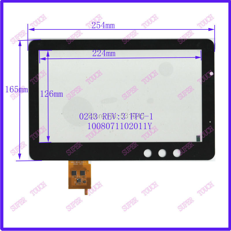 10.1Inch Capacitive Touch Screen PANEL Digitizer Glass Replacement for Tablet PC pad 0243 REV FPC1 Free Shipping black capacitive touch screen digitizer glass 9 7 inch tablet touch panel replacement ad c 971242 fpc free shipping