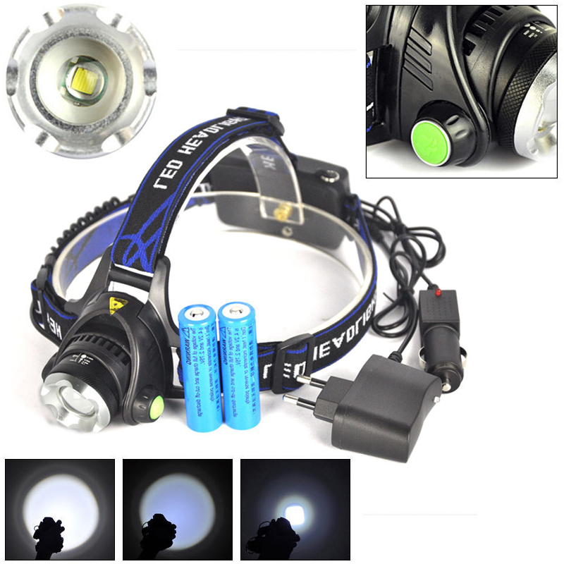 5000LM XM-L T6 LED Headlamp Head Light Torch Zoomable 2 X 18650 Battery + EU+Car Charger