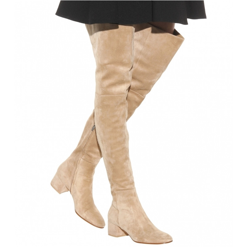 Apricot Solid Zipper Suede Soft Women Over-the-knee Boots Pointed Toe Low Heel Spring Autumn New Long Casual Botas Femeninas fanyuan 2017 hot sale spring autumn new arrive women boots fashion faux suede pointed toe zipper solid color over the knee boots