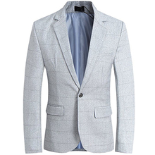 Mens Plaid Suit Jacket Slim Fit Notch Lapel Coat Groom Evening Prom Casual Blazer Men One Button Fortmal Light Grey Business notch lapel floral print back vent coat