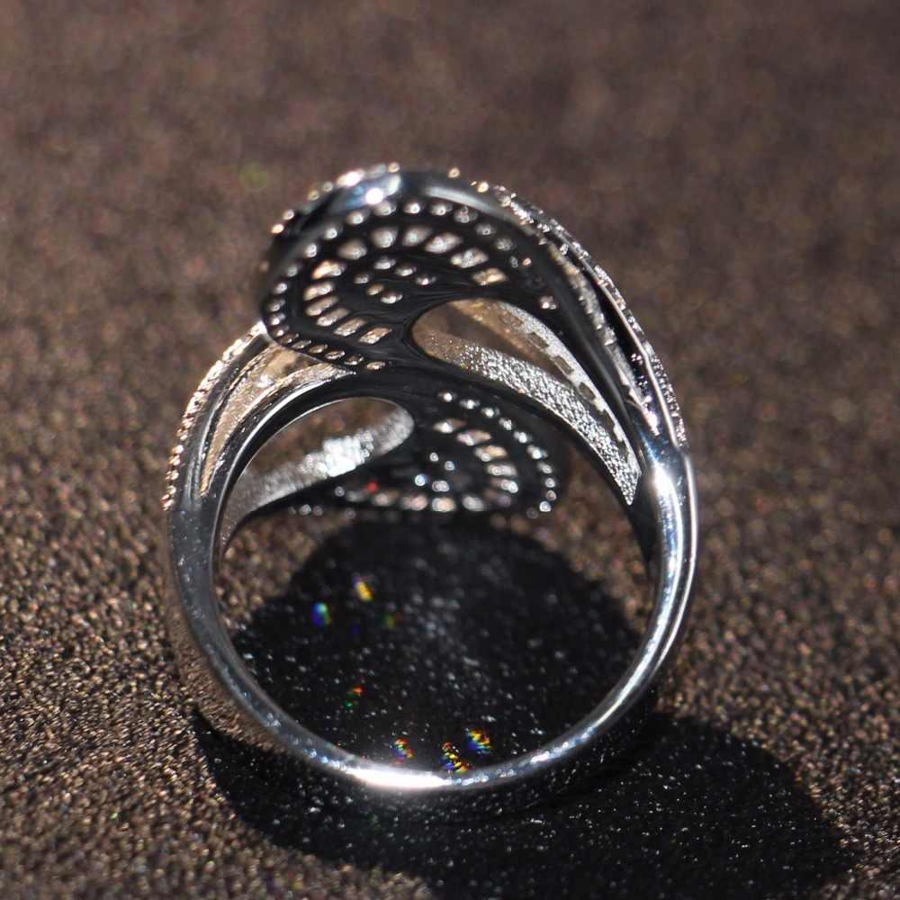 ยอดขายลดลงการจัดส่งสินค้าที่ทำด้วยมือหรูหราเครื่องประดับเงินแท้925ปริ๊นเซตัด5A CZพรรคผู้หญิงแต่งงานใบแหวนกว้างของขวัญ