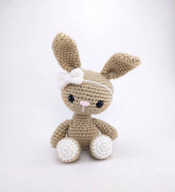 Amigurumi Haak bunny konijn speelgoed rammelaar Haak baby Speelgoed gift