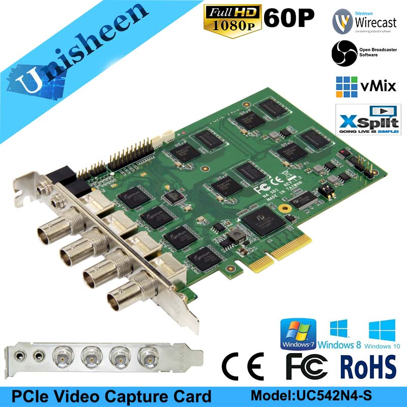 PCI Express HD placa de Captura de Vídeo 1080 p-4 Canal SDI Em Tempo Real