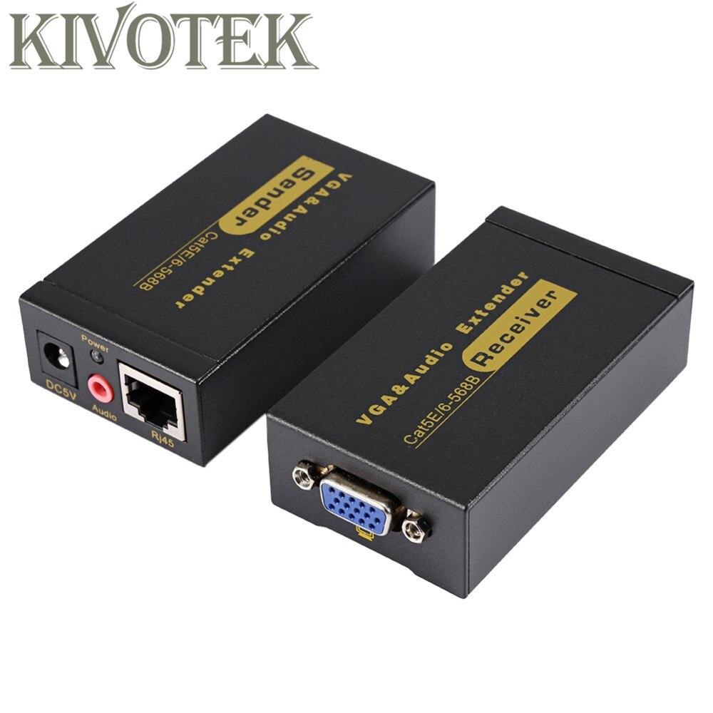 Adaptateur d'extension VGA VGA, SVGA, XGA, UXGA Extension d'émetteur VGA 100 m par connecteur Lan CAT5e/6 RJ45, pour CCTV, HDTV livraison gratuite - 3