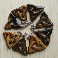2016 fashion  high quality natural tiger eye stone hollow triangle charm pendants for jewelry making 8pcs/lot Wholesale free