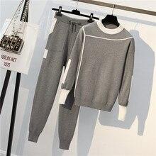CBAFU סתיו חורף בתוספת גודל אימונית נשים סרוג 2 חתיכות סט ארוך שרוול סוודרי סוודר כיס מכנסיים חליפות תלבושות P162