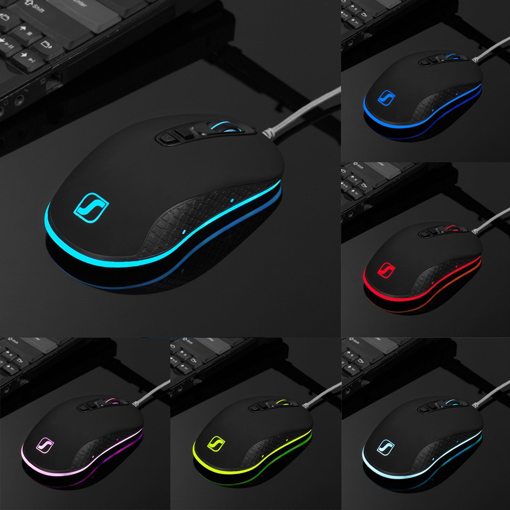 SeenDa Professional Wired Game Mouse RGB 7 Buttons 4000 DPI LED Ergonomic Optical Gaming Mouse For PC Computer Laptop Gamer Mice in Mice from Computer Office