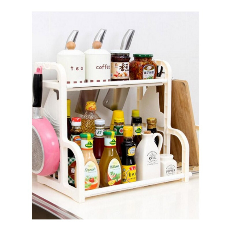 Colors Kitchen Cabinet Storage Sturdy 2-Layer Multifunction Kitchen Storage Rack Seasoning Rack Kitchen Storage Shelves