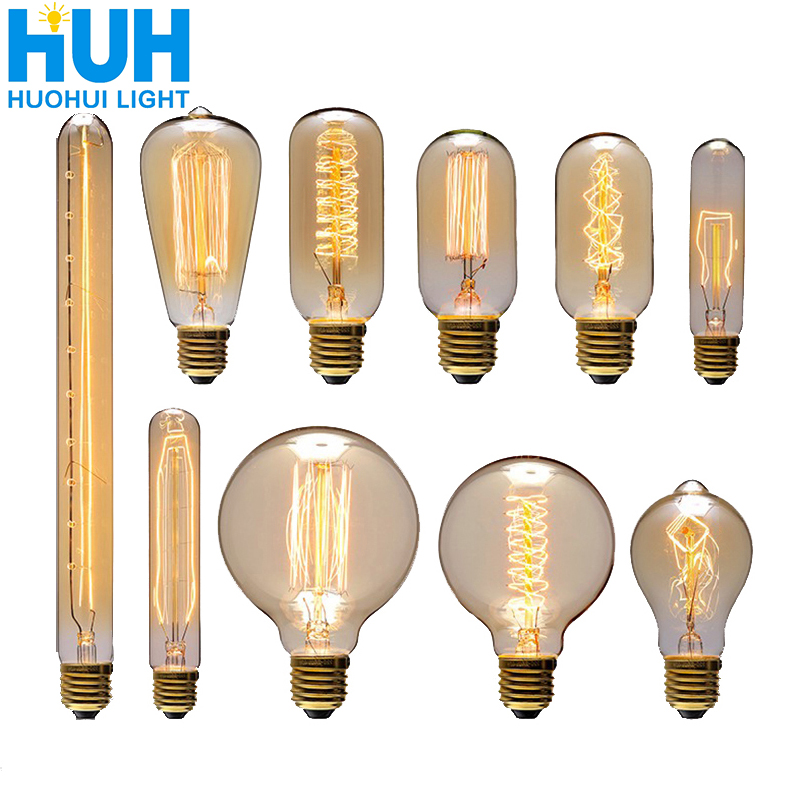Vintage Edison Bulb E27 40W Retro Filament Edison Light 90 V-260 V Bedroom Incandescent Bulb Lamp For Home Decor Creative  Bulbs