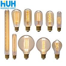 Bombilla Edison Vintage E27 40W Retro filamento Luz de edison 90 V-260 V dormitorio lámpara incandescente para la decoración del hogar bombillas creativas