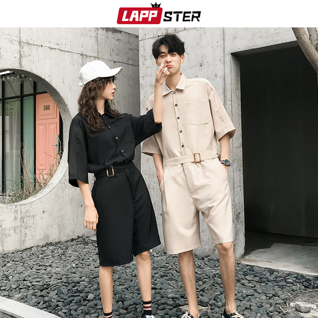 LAPPSTER Jumpsuit Men Harajuku Belt 2020 Summer Couple Women Jumpsuit Plus Size Black Cargo Overalls Pants Korean Style Fashion 49