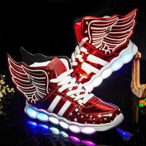 Image 3 - Kích Thước 25 37 Sạc USB Cánh Trẻ Em LED Giày Sáng Trẻ Em Áo Bé Trai & Bé Gái Giày Phát Sáng giày Zapatillas Con Luces
