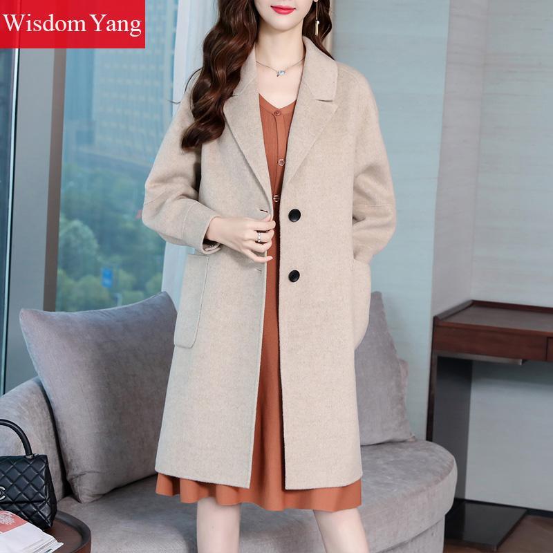 Pardessus Slim Chaud Bouton Femmes Manteau Élégant Bureau Femelle Manteaux Coat Long 2018 D'hiver Vêtements Laine Kaki Madame De Khaki Femme v1vwRaqp