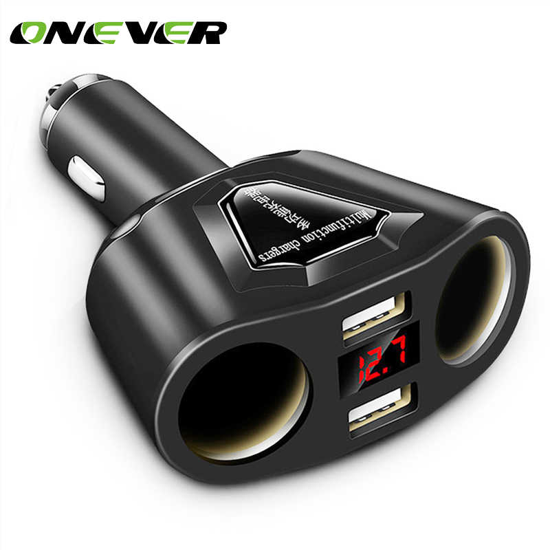 Onever 3.1A Dual USB Car Charger with 2 Cigarette Lighter Sockets 120W Power Support Display Current Volmeter for Phone GPS DVR