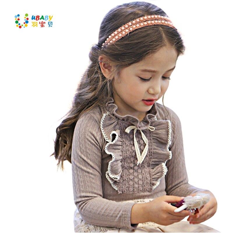 Blusen & Hemden Mädchen Spitzenhemd Kind Kleidung Grau/weiß Herbst Frühling Langärmelige Kleine Mädchen Kinder Baumwollhemd Hochzeit Prom Hemd Mädchen Kleidung