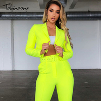 Tobinoone Two piece suit sexy long sleeve long jumpsuit Women pants playsuit Female patchwork holiday jumpsuit overalls clubwear