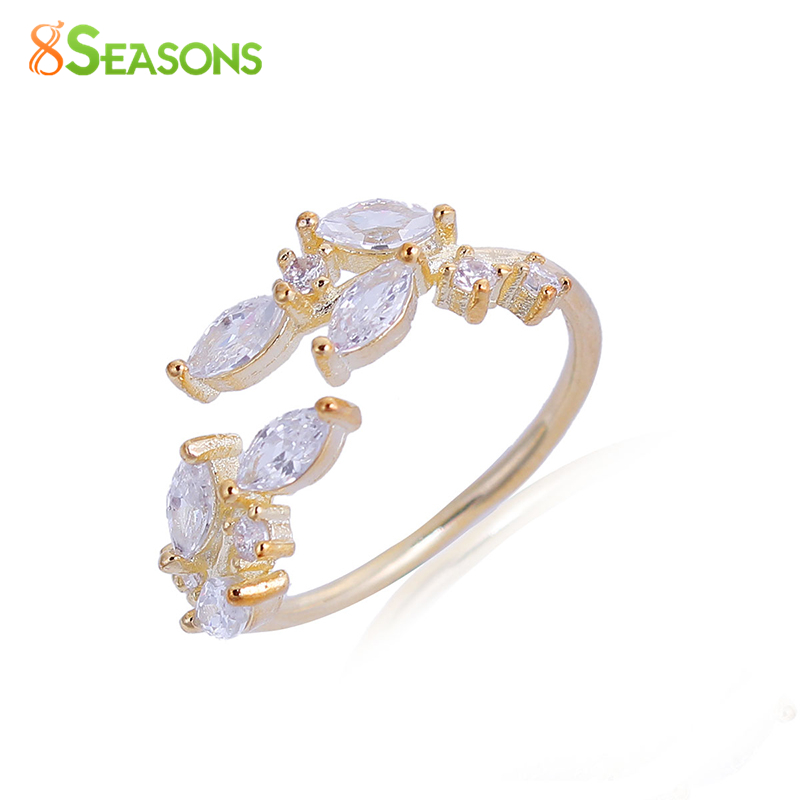 8SEASONS New Fashion Copper Adjustable Rings Leaf Rose Gold Color Silver Color Women Rings Jewelry 16.5mm US Size 6, 1 Piece