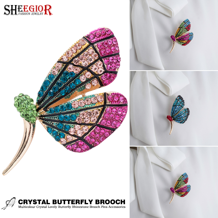 Lovely Butterfly Enamel Pins Metal Brooch Badge Accessories Color Crystal Rhinestone Brooches for Women Men Fashion Jewelry Gift in Brooches from Jewelry Accessories