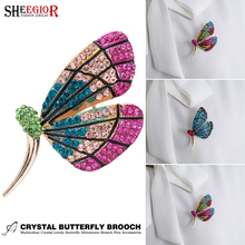 Lovely Butterfly Enamel Pins Metal Brooch Badge Accessories Color Crystal Rhinestone Brooches for Women Men Fashion Jewelry Gift