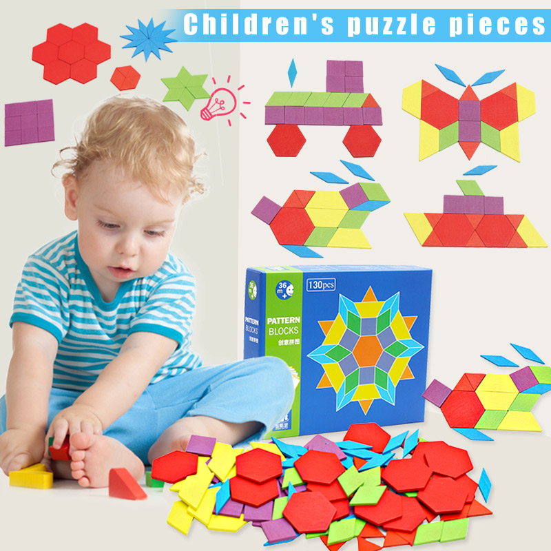 2019 New Wooden Pattern Blocks Montessori Kids Toys Jigsaw Shapes Dissection 130 Blocks 24 Designs