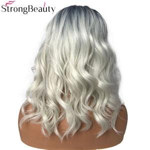 Image 3 - Strongbeauty 합성 가발 여성 가발 긴 물결 모양의 회색 가발 드래그 여왕가 발 hairpieces 여성을위한