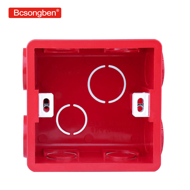 Wall Plate Adjustable Internal Cassette Mounting switch socket Box White/Red/Blue Plastic Materials For 86 Type Standard Light 86x86 pvc junction box wall mount cassette for switch socket base
