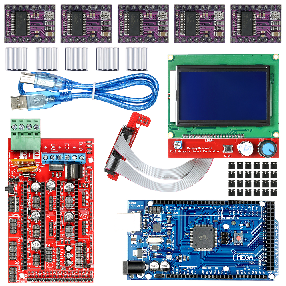 CNC 3D Printer Kit for Arduino Mega 2560 R3 + RAMPS 1.4 Controller + LCD 12864 + 6 Limit Switch Endstop + 5 A4988 Stepper Driver endstop mechanical limit switch ramps 1 4 3 d printer using modules