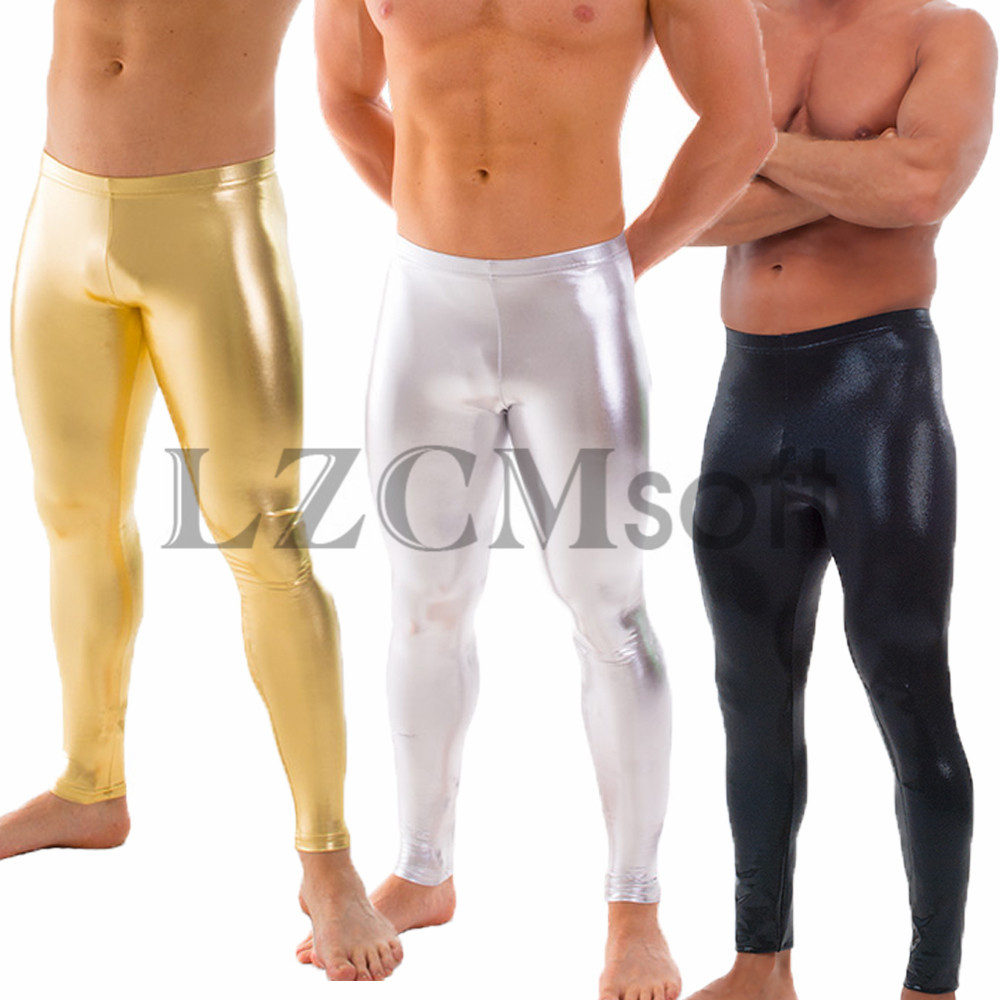 LZCMsosft Mens Spandex Shiny Metallic Gold Dance Leggings Low Waisted Stage Performance Costume Pants Skinny Leggings For Adults