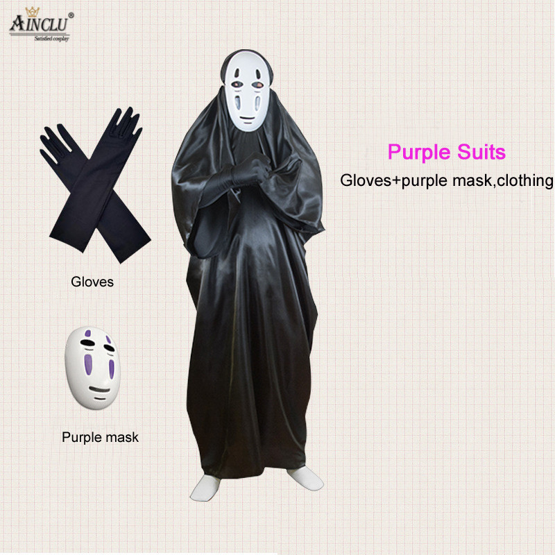 No Face Man Spirited Away Cosplay Costume with Mask gloves for Halloween Costume Anime Miyazaki Hayao Faceless Suits S-XXL