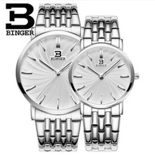 Geneva Binger top brand watches men women fashion casual Stainless Steel watch business lover couple 30m waterproof watches