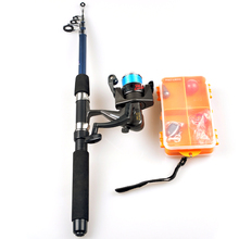 high quality 1 65m telescopic lure rod set casting spinning rod fishing reel fishing rod reel line lures hooks portable bag 1.8m Telescopic Spinning Rod Fishing Reel Combo Full Fishing Set High Quality Carp Fishing Tackle Gear Hooks Lure Kit Pesca