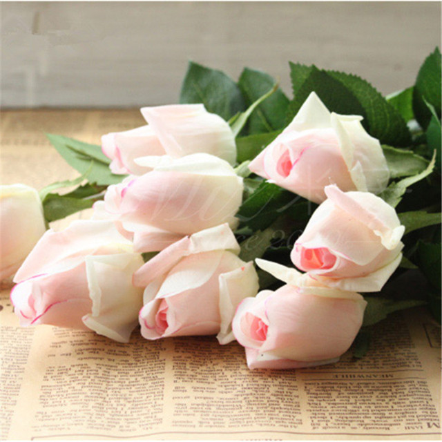 Aliexpress buy 10stems light blush real touch rose buds for 10stems light blush real touch rose buds for wedding centerpieces silk bridal bouquets artificial flowers mightylinksfo