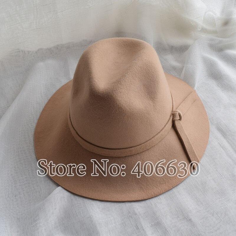 33805e87ae6 ... Winter Casual Women Wide Brim Wool Felt Fedora Hats Chapeu Feminino  Free Shipping SDDW011 ...