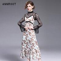 ANNROOT Лето 2018 новые модные женские платья винтажное платье с принтом для женщин благородные кружевные платья женские Бесплатная доставка