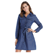 BFYL Fashion Women's New Denim Dresses Fashion Long Sleeve Clothing Casual Dress Spring Autumn Turn Down Collar Vintage Slim D