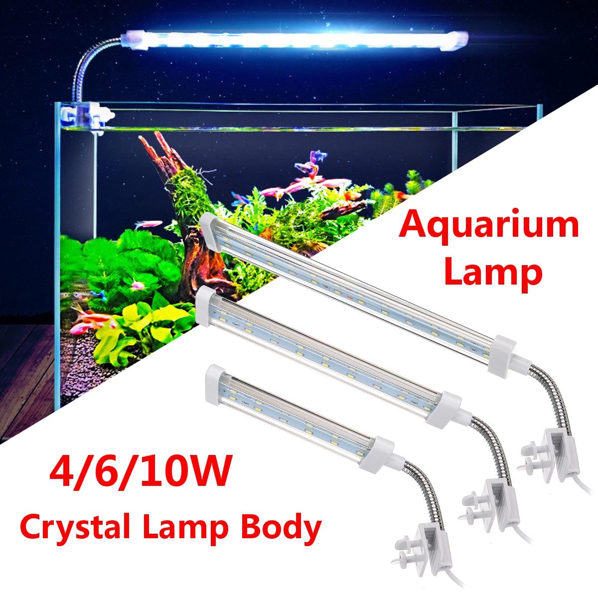 4 Вт/6 Вт/10 Вт светодиодный свет аквариума аквариум растения растут клип на лампы освещения рыбы майка светодиодный светильник белый и голуб...