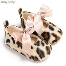 Baby Boys Girls Infant Toddler Leopard Shoes 2017 New Arrival Butterfly Knot Crib Shoes Non Slip