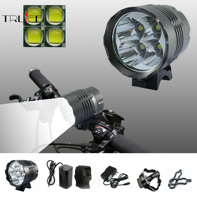 4000 Lumens Headlight 4 x CREE XML T6 LED Bike Bicycle Light LED HeadLight Headlamp +6400mah Rechargeable battery Pack+charger outdoor solarstorm bike light headlamp 2 cree led bicycle waterproof headlight flashlights 8 4v 4 18650 battery pack charger
