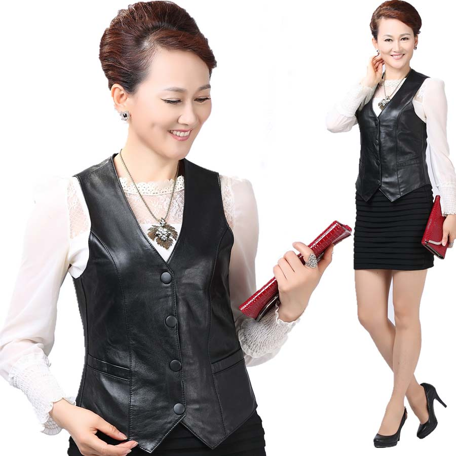 Elegant Warm Winter Sleeveless Jacket Women Softskin Leather Vest Casual Slim Autumn Coat Waistcoat Big Size
