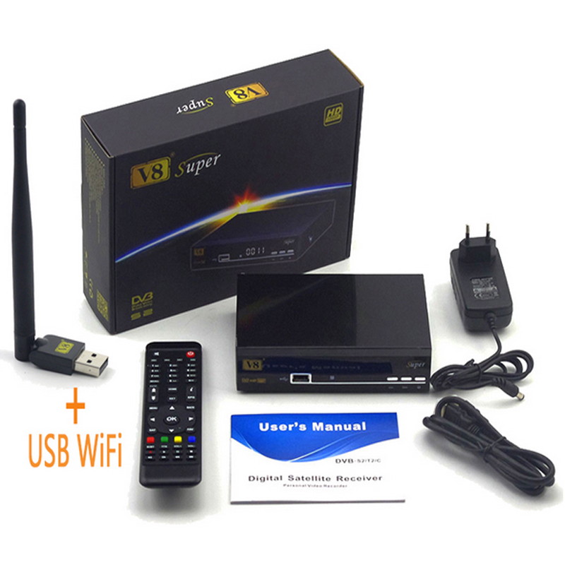 цена на Freesat V8 Super DVB-S2 Satellite TV Receiver Full 1080P With USB WIFI Support Youtube Youporn CCCAM NEW CAM Powervu Biss