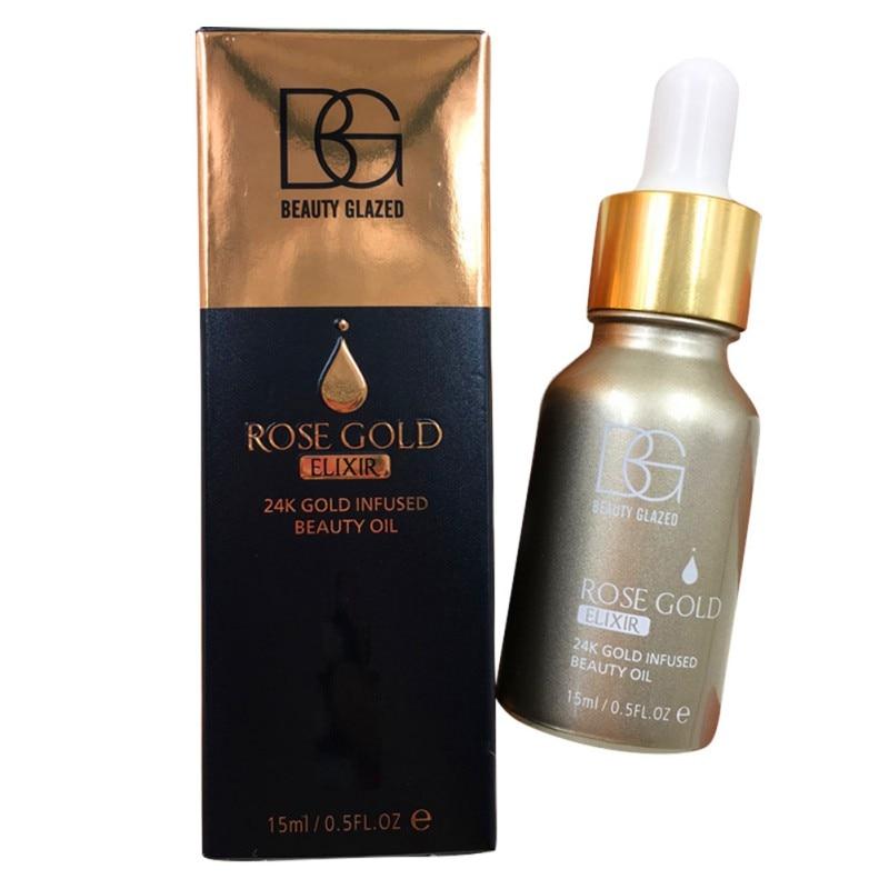 24k Rose Gold Radiating Moisturizer Drop Essential Oil Care Natural Face Makeup Base Primer 15ml