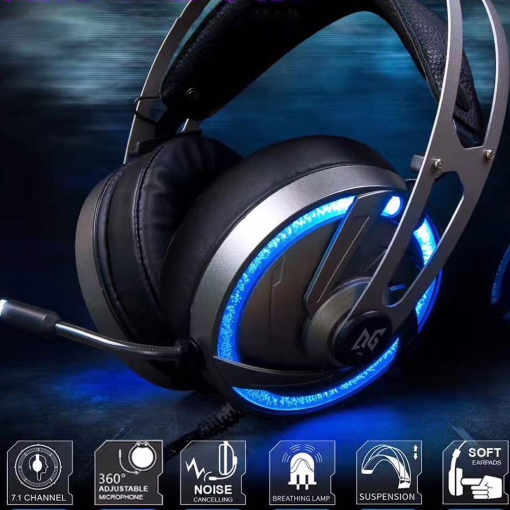 Delicious A60 Channel 7.1 Usb 7 Color Rgb Led Flashing Gaming Headset Computer Over Ear Stereo Heaphones Soft Earmuffs For Laptop