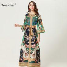 Truevoker Spring Designer Loose Maxi Dress Women s Fashion Full Sleeve  Vintage Baroque Printed Plus Size XXXL Boho Long Vestido 236ce5d99d74