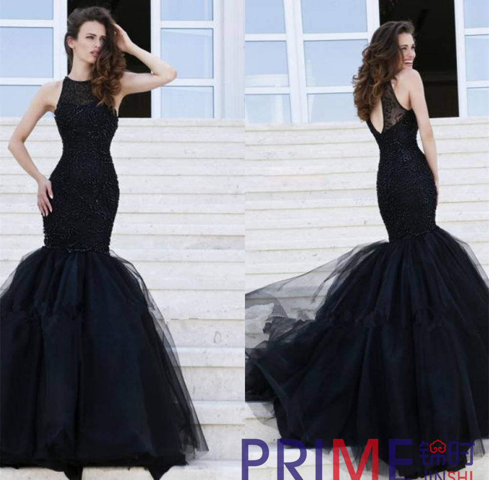 PRIME JS 2015 New O Neck Beaded Mermaid Backless Lace Long Prom ...