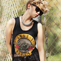 Free Shipping haoduoyi european style Guns N' Roses tassel fringe tank women camis sleeveless vest